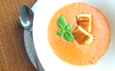 {Recipe} Creamy Tomato Basil Soup with Grilled Cheese Croutons